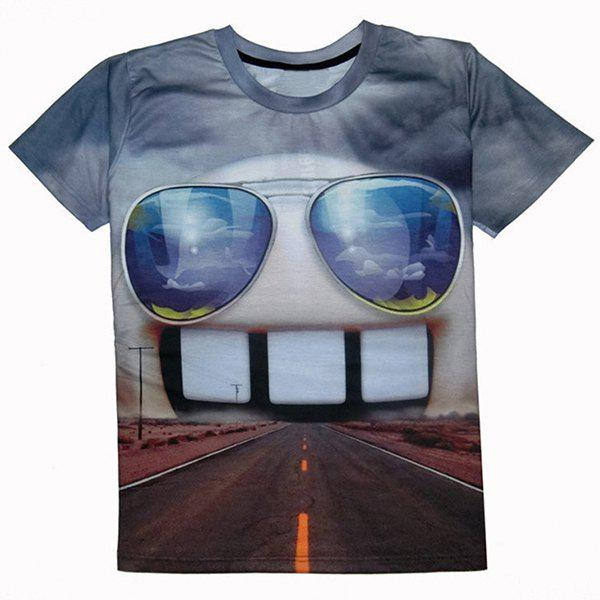 Casual Teeth Printed Round Collar T-Shirt For Men - COLORMIX S