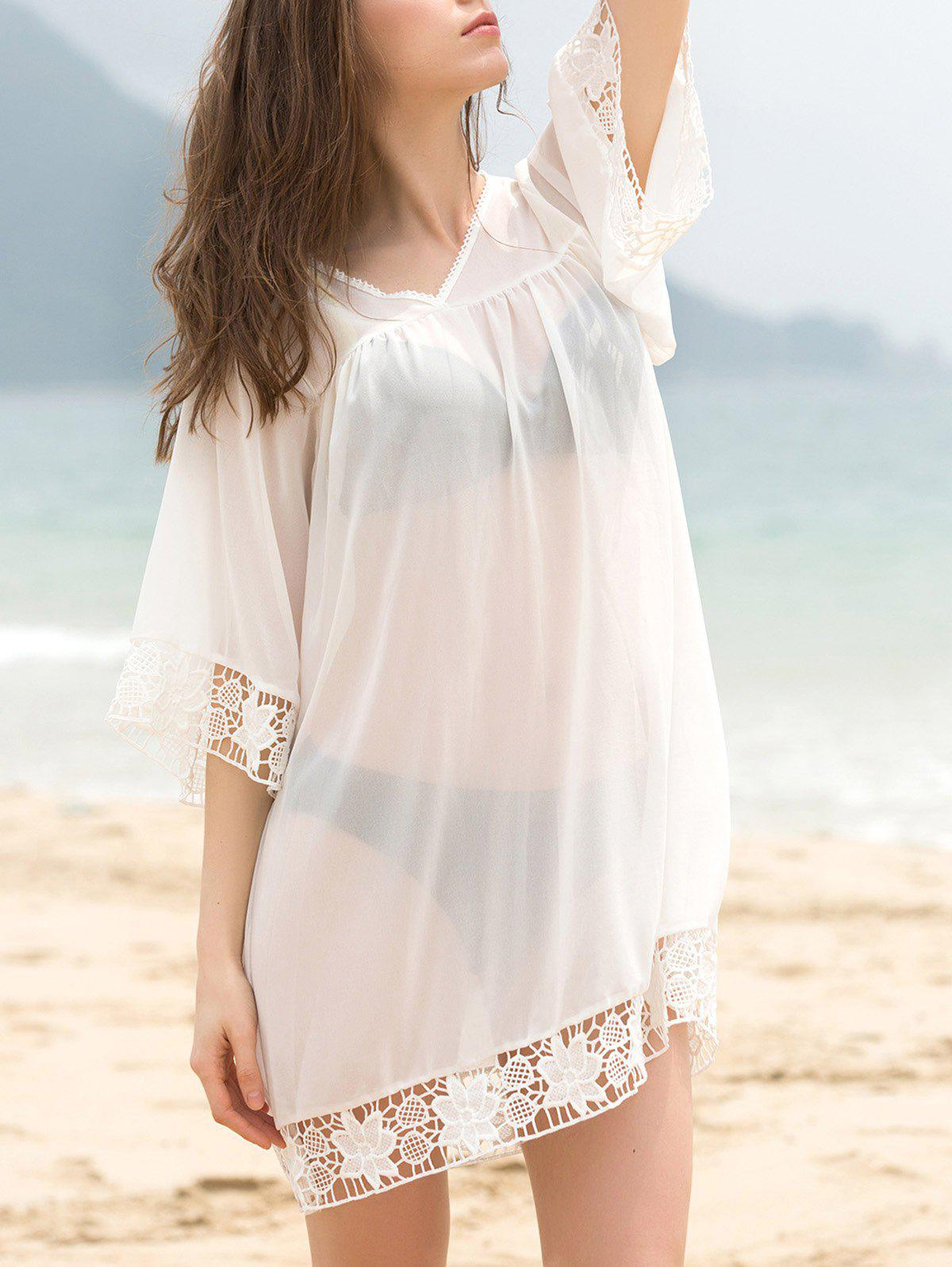 Fashionable Women's V-Neck 3/4 Sleeve Lace Splicing Cover-Up Dress - WHITE ONE SIZE(FIT SIZE XS TO M)