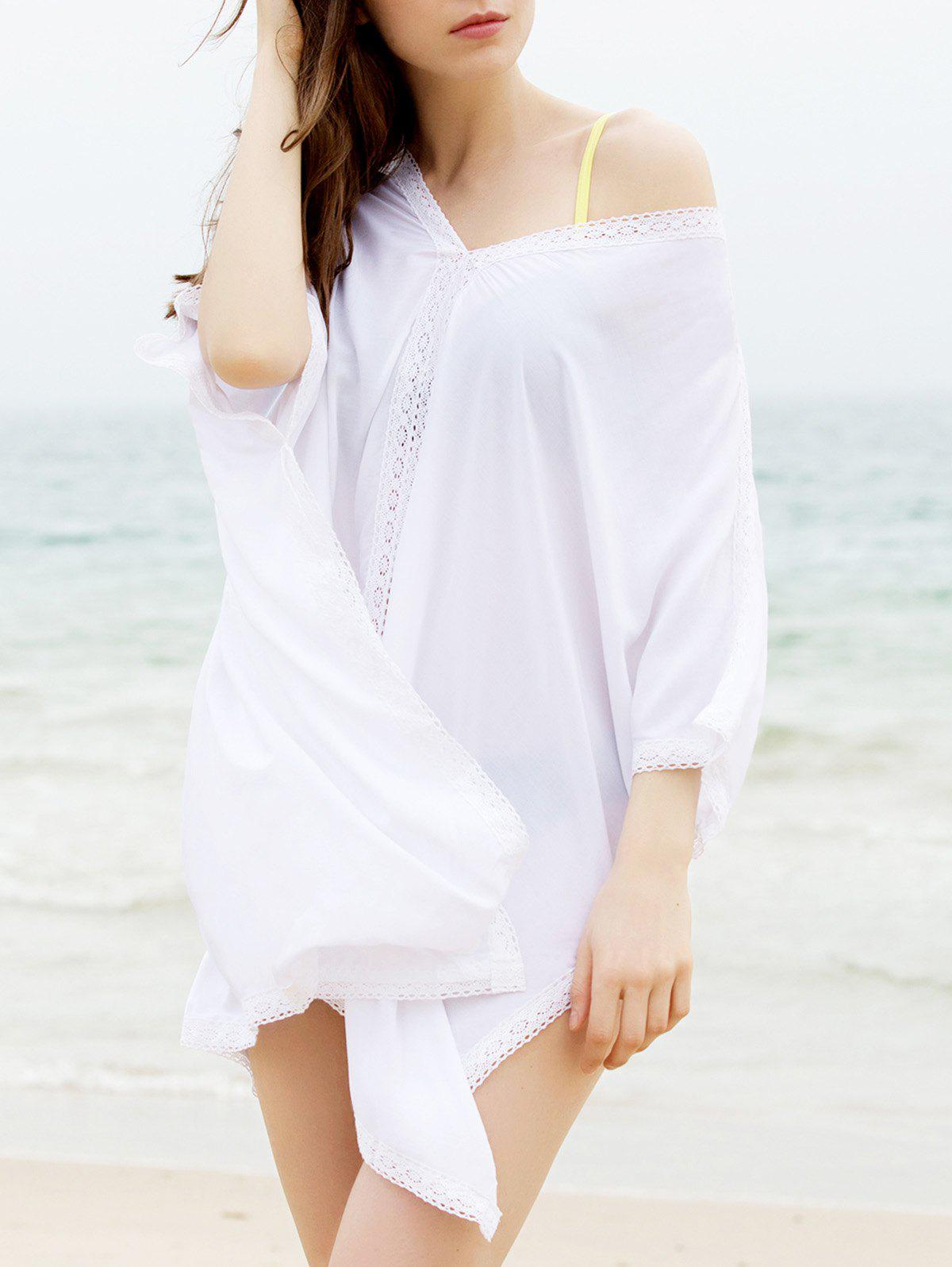 Fashionable Women's Plunging Neck 3/4 Sleeve Cover-Up Dress - WHITE ONE SIZE(FIT SIZE XS TO M)