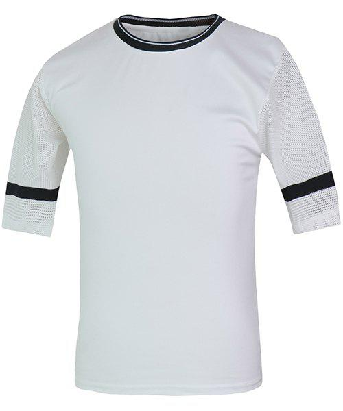 Fashion Round Neck Hollow Out Color Spliced Half Sleeves Men's Fitted T-Shirt