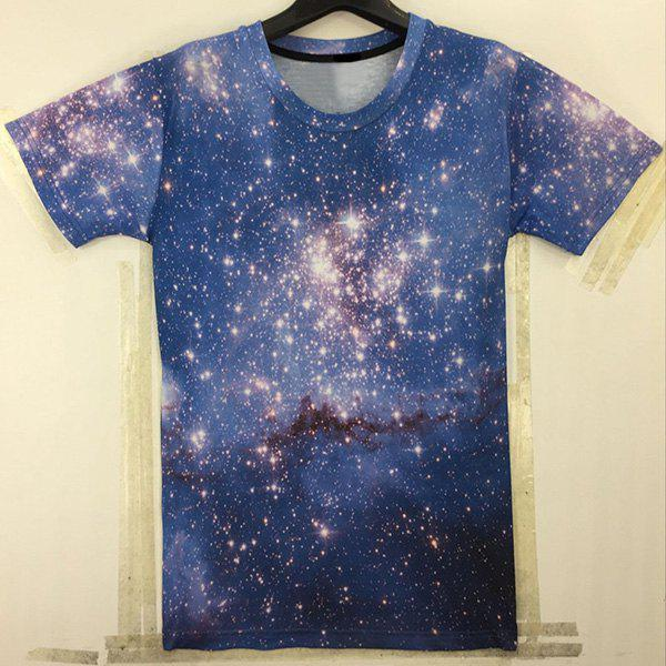 Casual Starry Sky Printed Round Collar T-Shirt For Men - COLORMIX L
