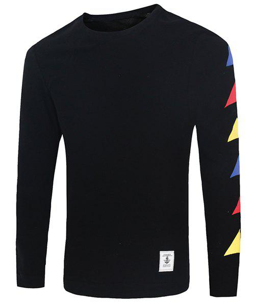 Round Neck Colorful Geometric Print Anchor Applique Long Sleeve Men's Sweatshirt - BLACK M