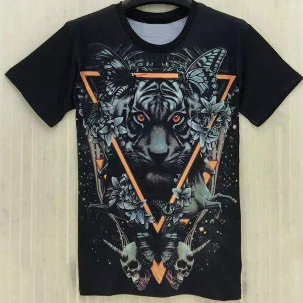 Casual Tiger Printing Round Collar T-Shirt For Men - BLACK L