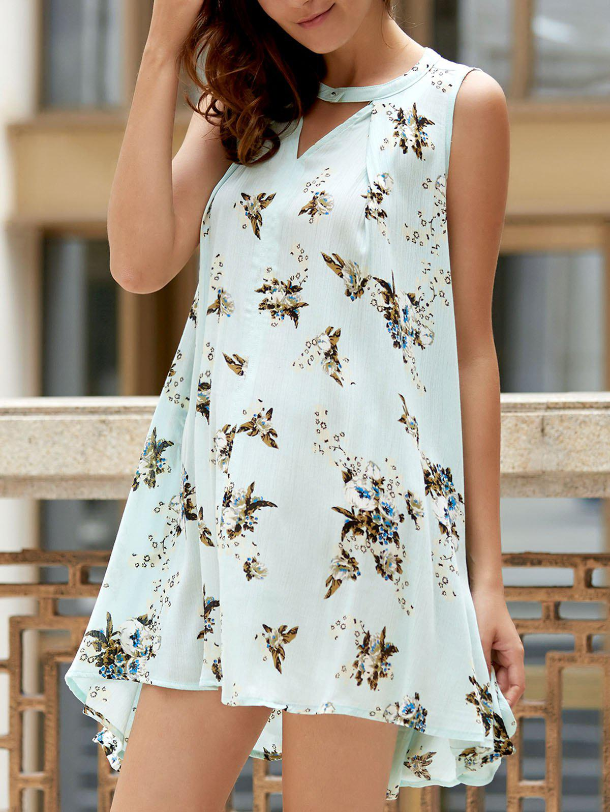 Leisure Style Keyhole Neck Sleeveless Printed High-Low Hem Women's Dress - MINT GREEN S
