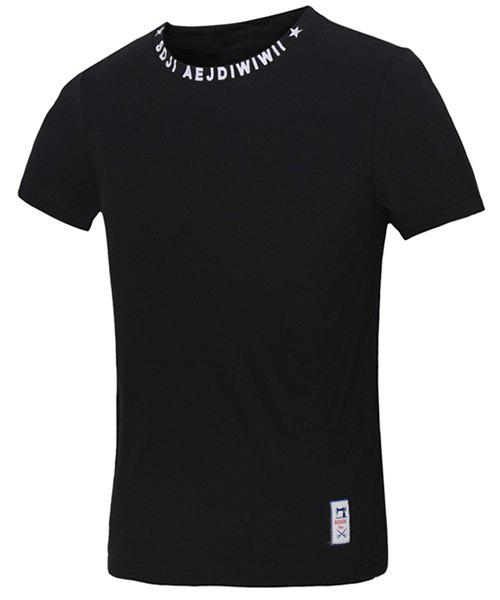 Funny Letters Geometric Print Fitted Round Neck Short Sleeves Men's T-Shirt - BLACK 2XL