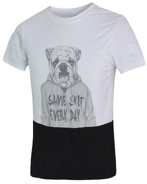 Funny 3D Dog Print Color Spliced Fitted Round Neck Short Sleeves Men's T-Shirt - WHITE M
