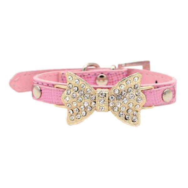 Chic Quality Golden Rhinestone Bow Decor PU Leather Adjustable Dog Collars - PINK S
