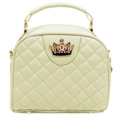 Trendy Crown and Argyle Pattern Design Women's Tote Bag - OFF WHITE