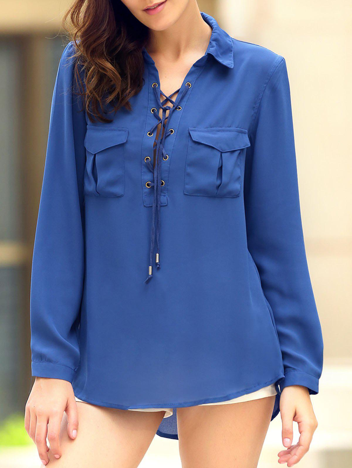 Fashionable Shirt Collar Long Sleeve Lace-Up High-Low Hem Women's Pocket Blouse - BLUE S