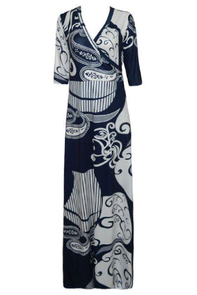 Trendy 3/4 Sleeve Plunging Neck Skinny Printed Women's Dress - M COLORMIX