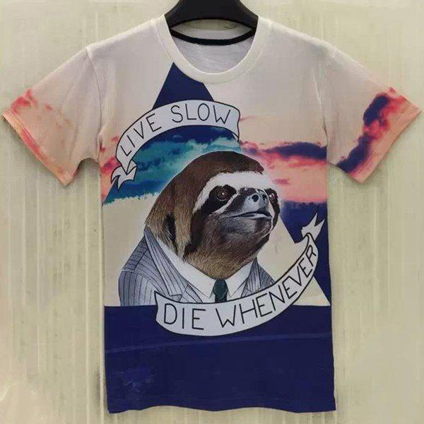 Casual Sloth Printing Round Collar T-Shirt For Men - COLORMIX S