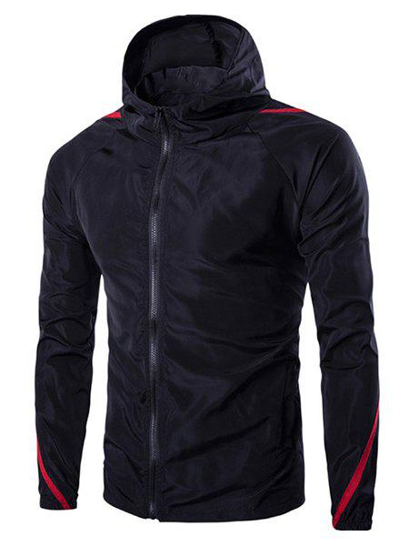 Selvedge Embellished Hooded Long Sleeve Polyester Mens JacketMen<br><br><br>Size: 2XL<br>Color: BLACK