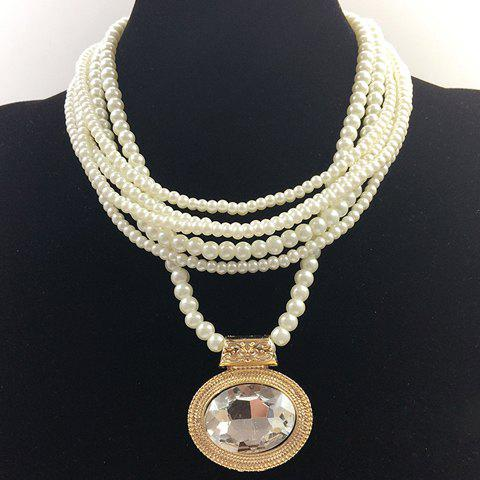 Exquisite Gemstone Embellished Multi-Layered Faux Pearl Chain Necklace For Women