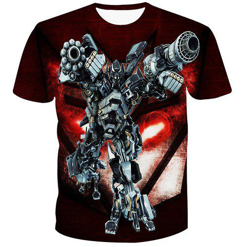 Fashion Pullover 3D Robot Printed T-Shirt For Men - COLORMIX M