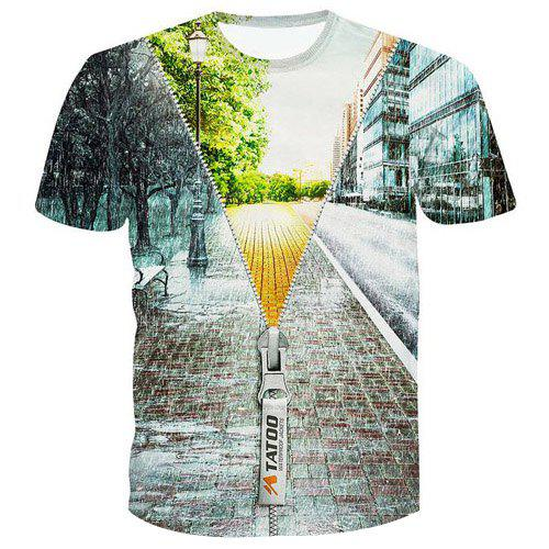 Fashion Pullover 3D Zipper Printed T-Shirt For Men - COLORMIX S