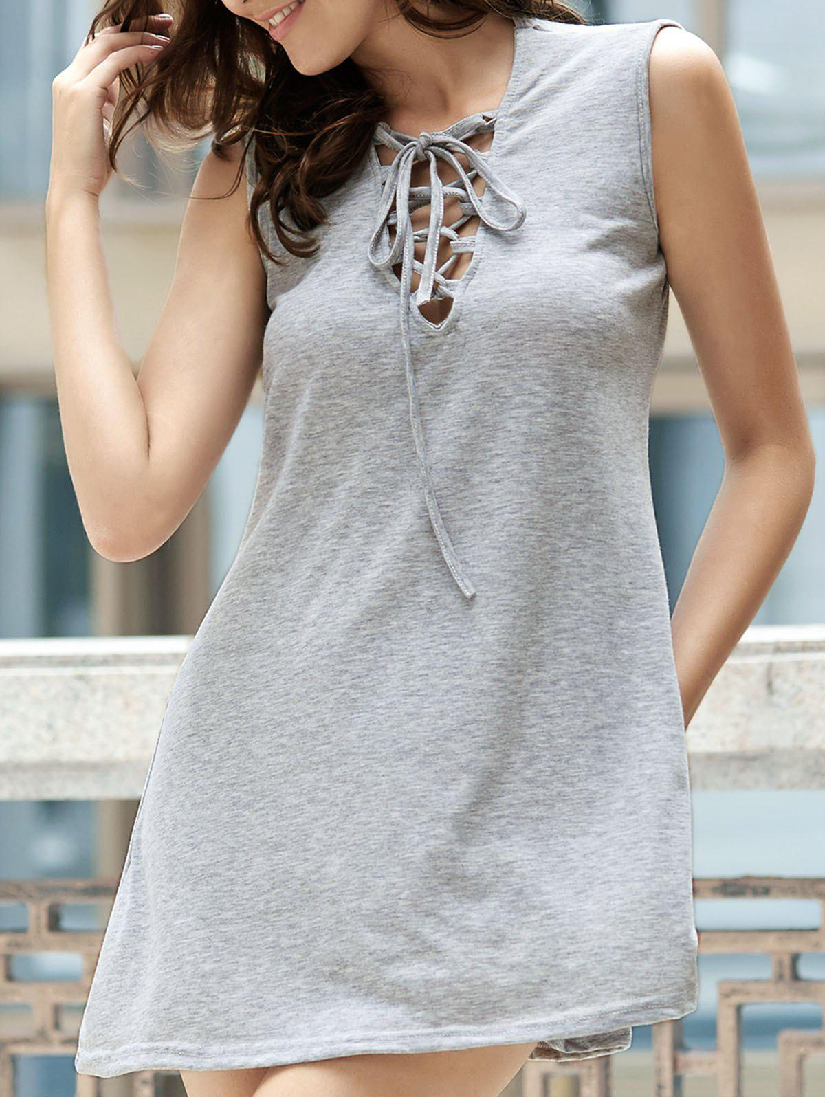 Sweet Solid Color Sleevless Grid V-Neck Women's Dress - LIGHT GRAY M