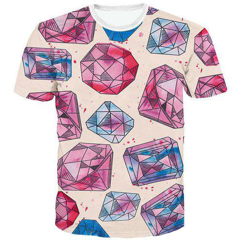 Fashion Pullover 3D Polygon Printed T-Shirt For Men - COLORMIX XL