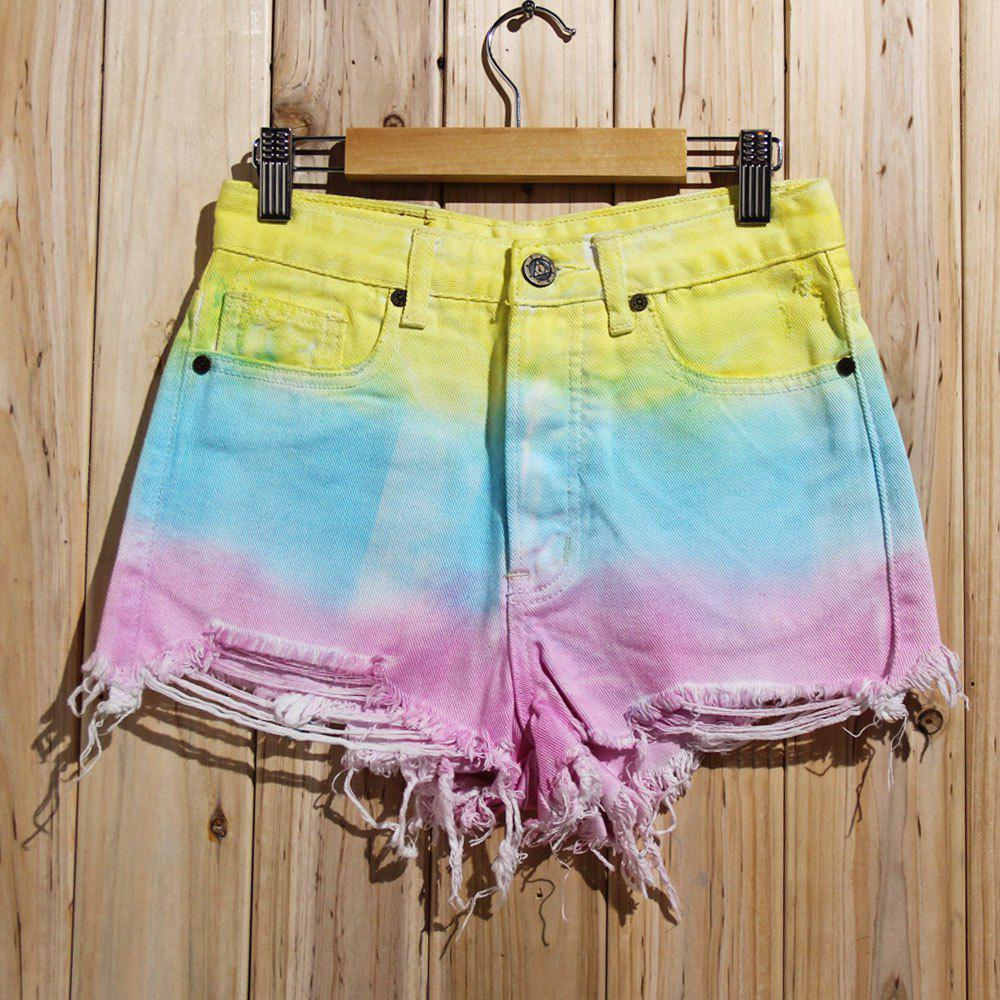 Trendy Bleach Wash Ripped Colorful Shorts For Women - COLORMIX S