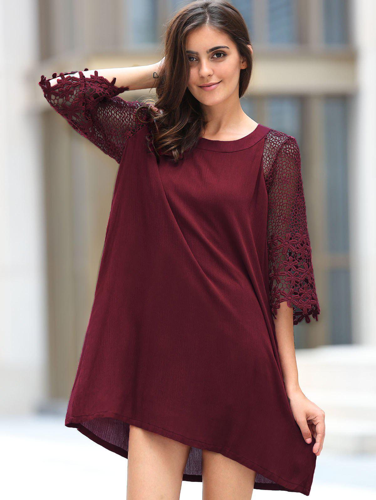 Trendy 3/4 Sleeve Round Collar Loose-Fitting Lace Spliced Women's Dress - WINE RED S