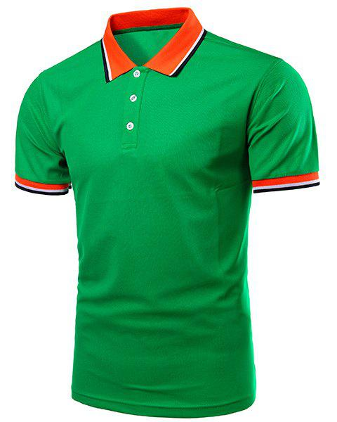 Turn-Down Collar Color Block Splicing Design Short Sleeve Men's Polo T-Shirt - GREEN S