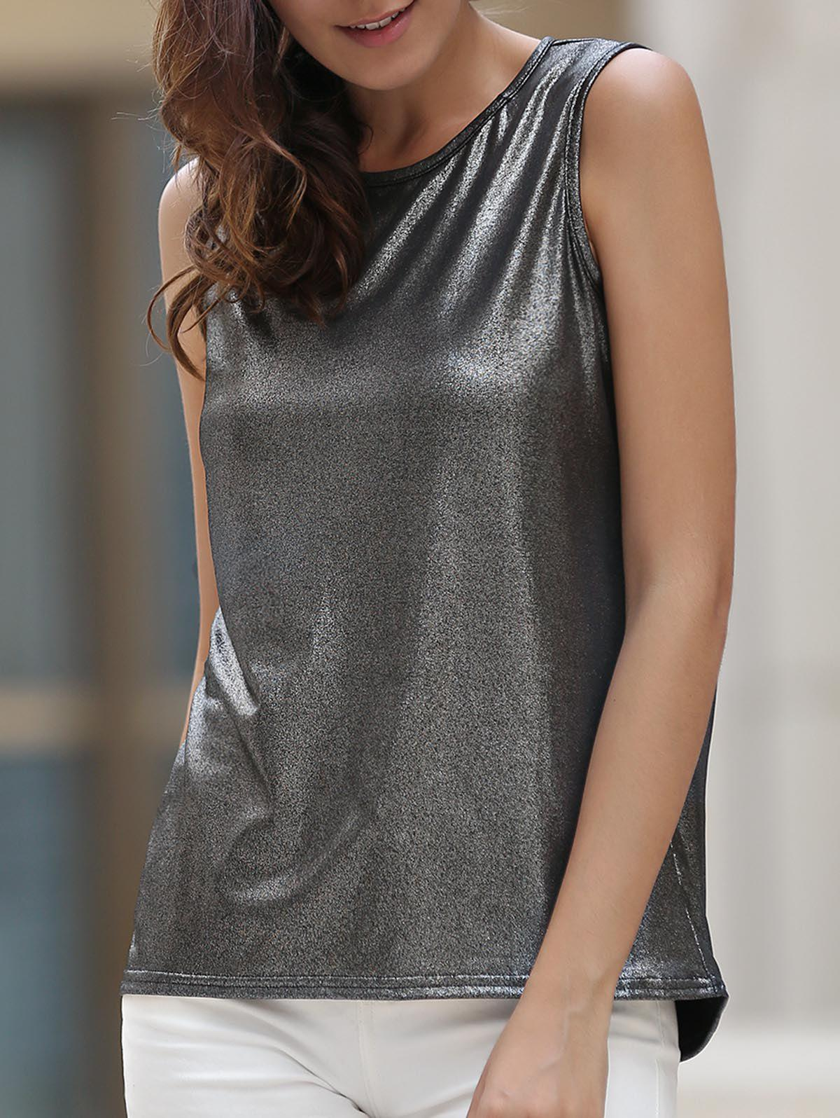 Fashionable Hollow Out Sleeveless Round Neck Women's Tank Top