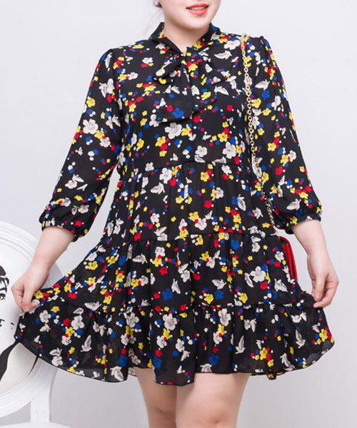 2018 Simple Style 34 Sleeve Print Pleated Plus Size Dress For Women