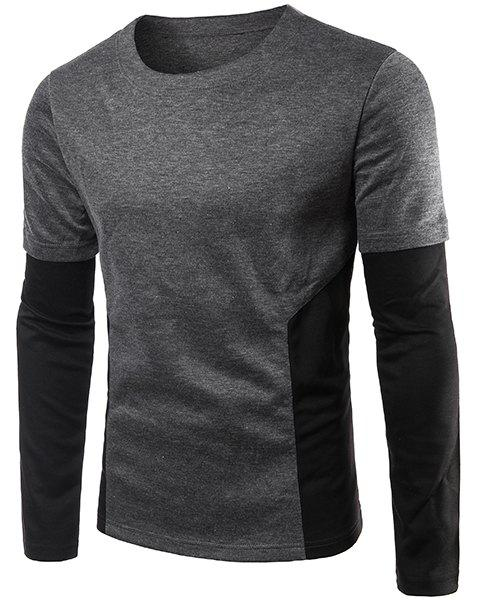 Splicing Design Plus Size Round Neck Long Sleeve Men's T-Shirt - GRAY L