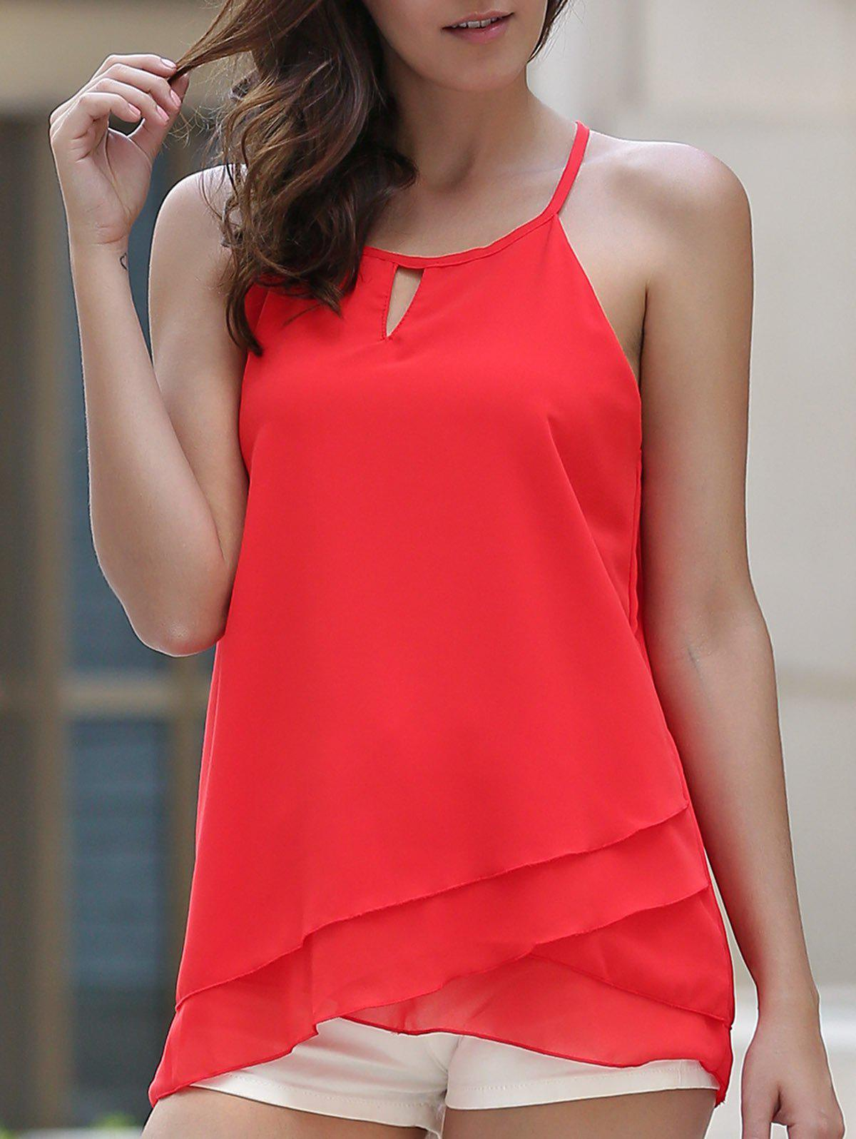 Stylish Spaghetti Strap Sleeveless Chiffon Layered Red Women's Tank Top