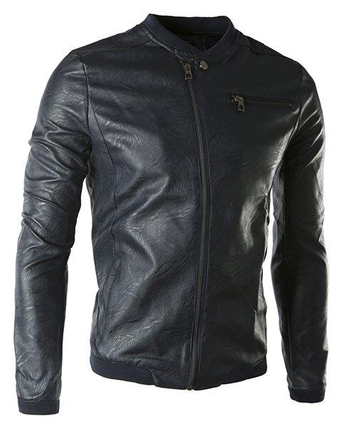 Rib Spliced Stand Collar Long Sleeve PU-Leather Men's Jacket - BLACK M