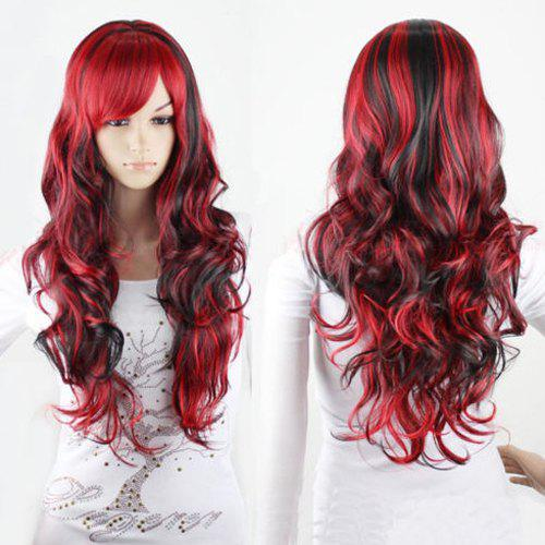 Shaggy Curly Side Bang Synthetic Charming Long Black Mixed Red Cosplay Wig For Women qiyi charming glossy side bang long straight cosplay wig