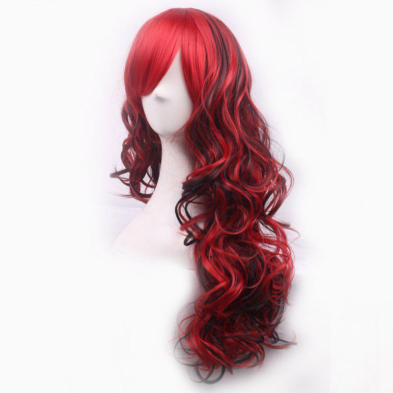 Shaggy Curly Side Bang Synthetic Charming Long Black Mixed Red Cosplay Wig For Women - RED/BLACK