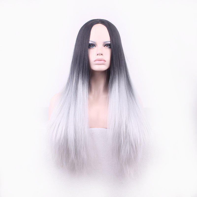 Vogue Black Ombre Gray Middle Part Synthetic Attractive Long Straight Cosplay Wig For Women - OMBRE