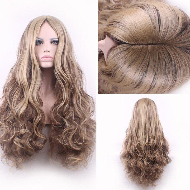 Bouffant Curly Long Synthetic Trendy Light Blonde Mixed Brown Middle Part Womens Cosplay Wig