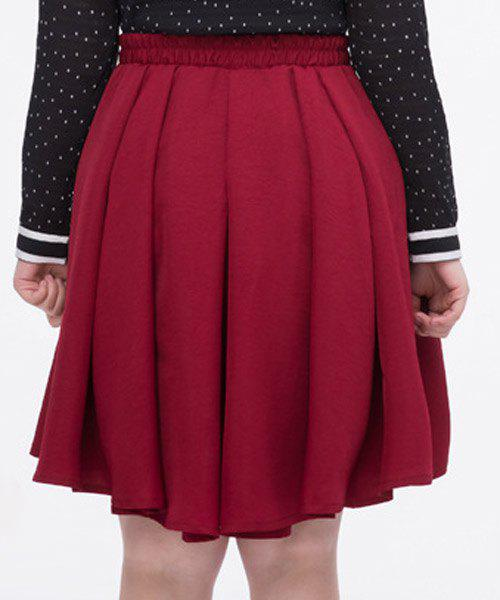 Cute Waist Bowknot Solid ColorPlus Size Pleated Dress For Women - RED 2XL