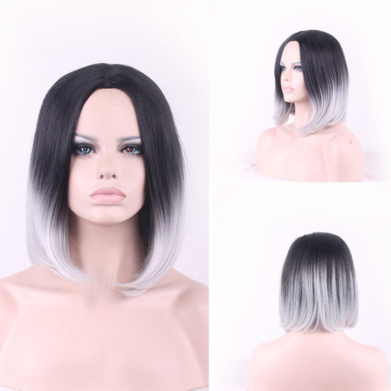 Nobby Black Gray Gradient Short Bob Style Straight Tail Adduction Synthetic Cosplay Wig For Women - OMBRE