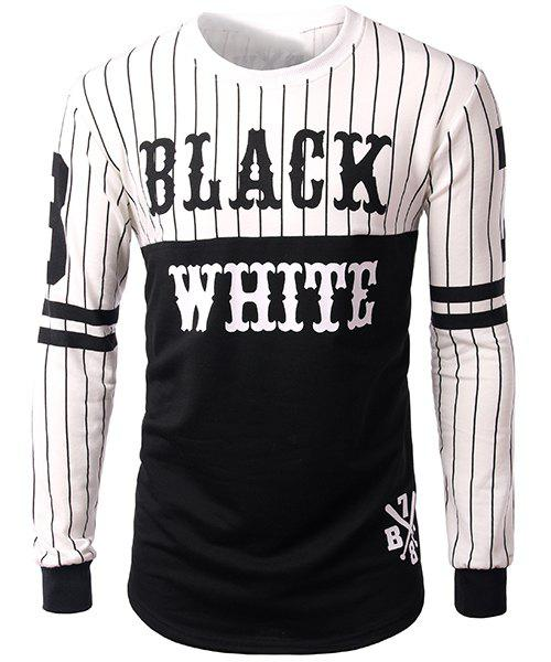 Striped and Letters Print Round Neck Side Zipper Design Long Sleeve Men's Sweatshirt - COLORMIX S