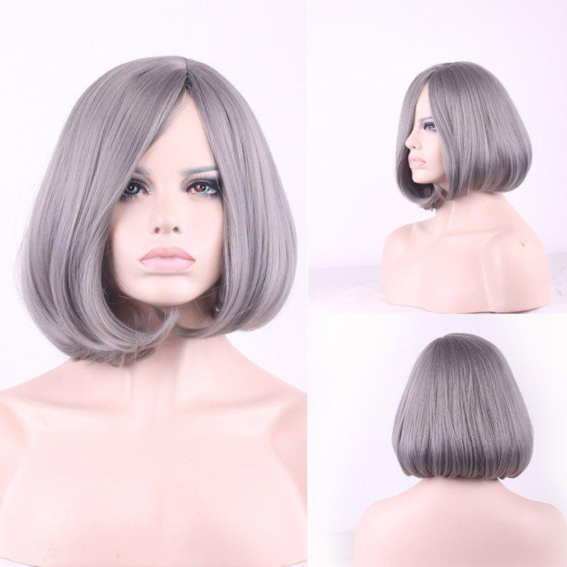 Prevailing Grandma Ash Short Synthetic Bob Style Straight Tail Adduction Women's Cosplay Wig
