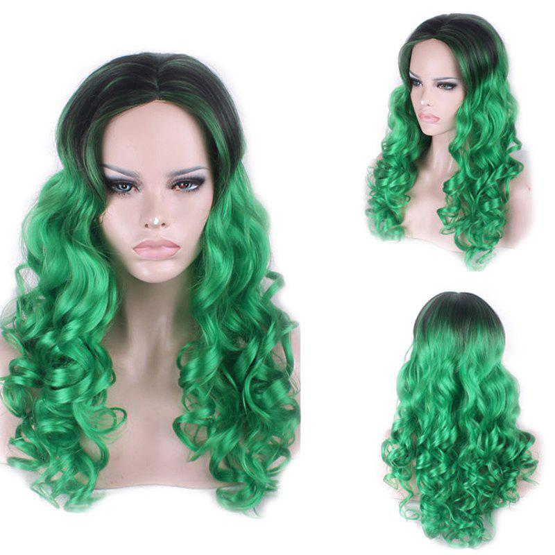 Attractive Long Black Green Gradient Shaggy Curly Middle Part Women's Synthetic Cosplay Wig - BLACK/GREEN
