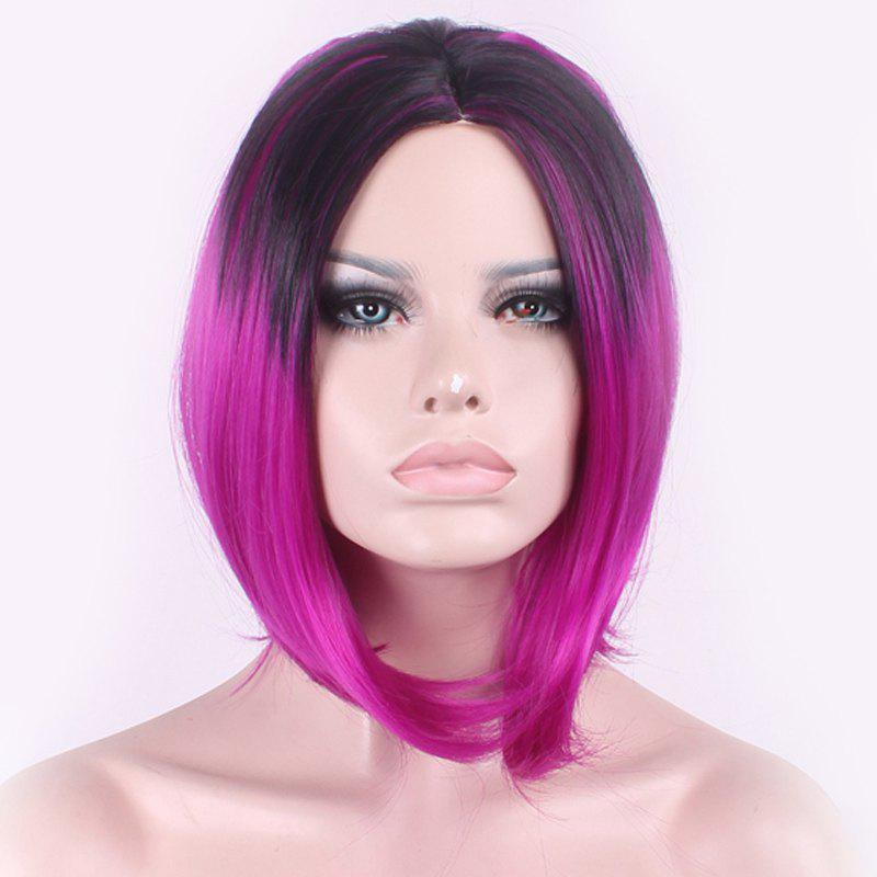 Bob Style Black Gradient Purple Medium Elegant Straight Middle Part Synthetic Cosplay Wig For Women purple braiding hair long cosplay 100cm synthetic straight wig women hair light purple party wig style purple braiding hair