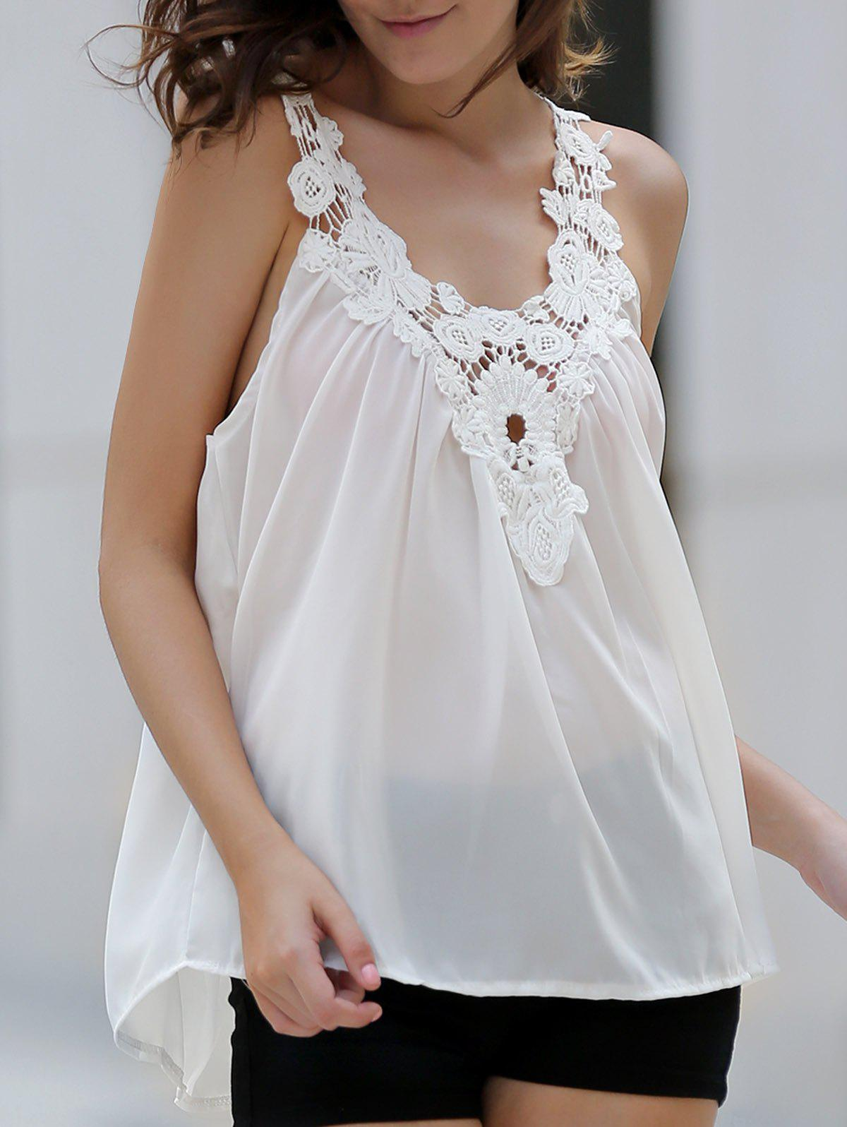Trendy V-Neck See-Through Lace Splicing Tank Top For Women