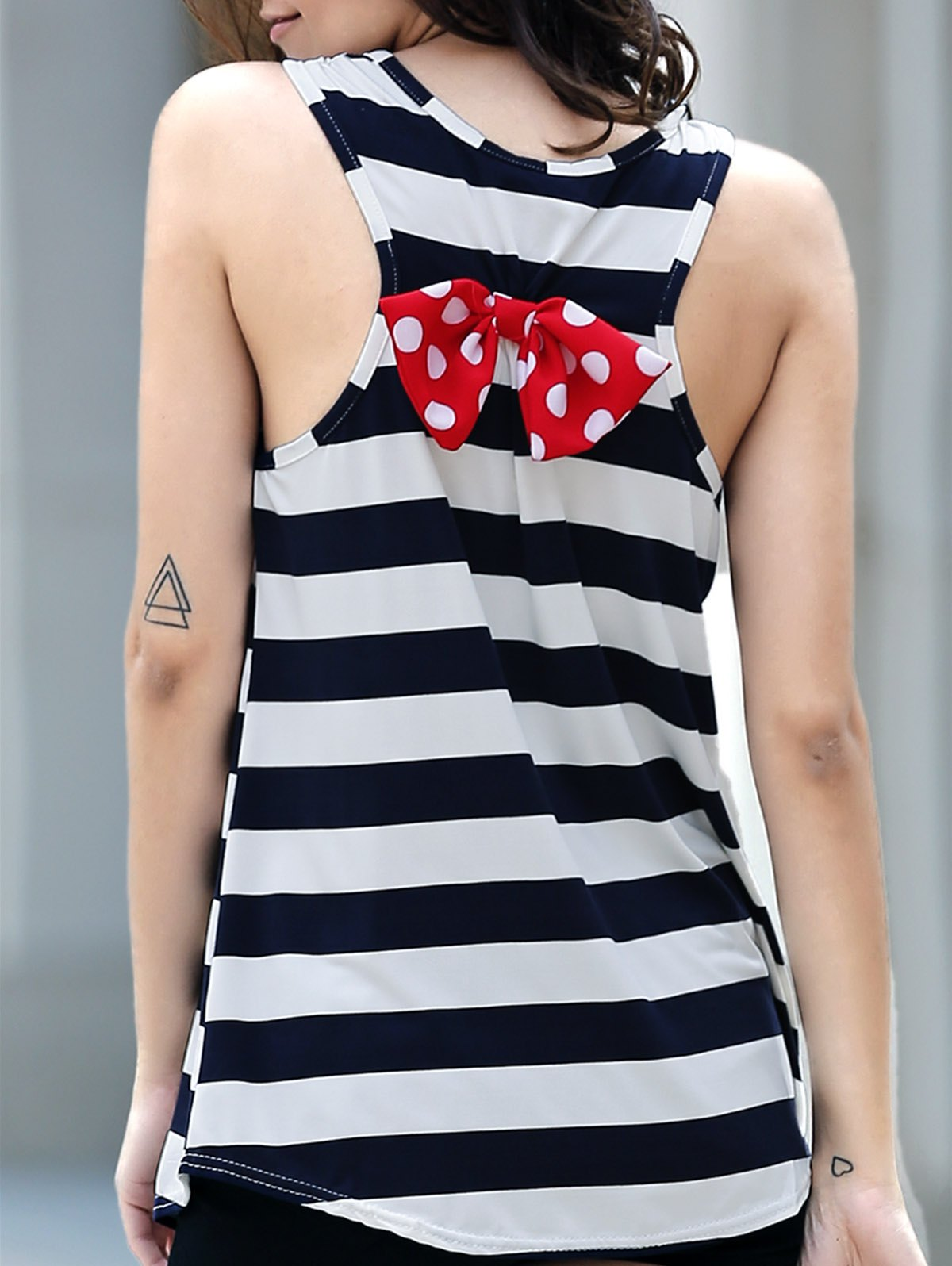 Trendy Scoop Neck Sleeveless Polka Dot Bowknot Decorated Tank Top For Women