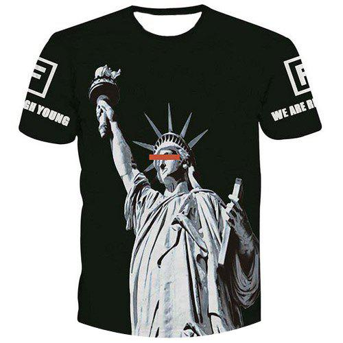 Fashion Men's Statue of Liberty Printed Pullover T-Shirt - BLACK M