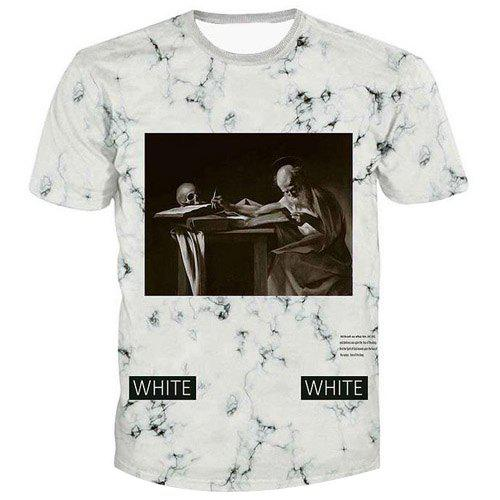 Men's Fashion Artist Printed Pullover T-Shirt - WHITE S