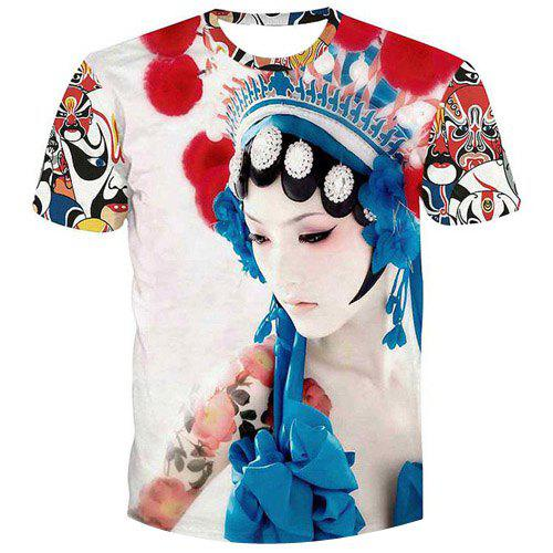 Fashion Men's Peking Opera Actress Printed Pullover T-Shirt - COLORMIX S