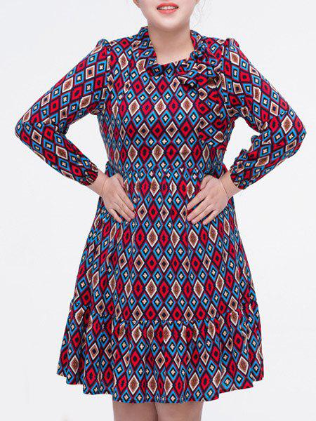 Vintage Round Collar Long Sleeve Plus Size Dress For Women - COLORMIX 2XL