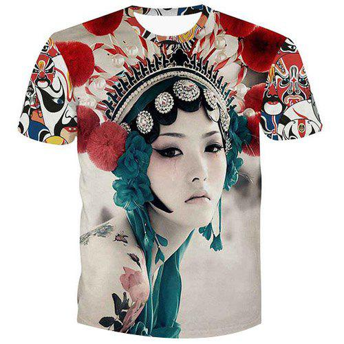 Fashion Peking Opera Actress Printed Pullover Men's T-Shirt - COLORMIX S