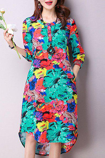 Trendy Colorful Print 3/4 Sleeve Jewel Neck Dress For Women - BLUE XL