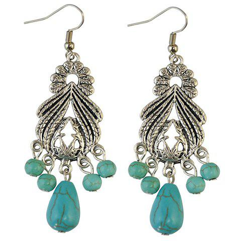 Pair of Vintage Faux Turquoise Leaf Alloy Drop Earrings - SILVER