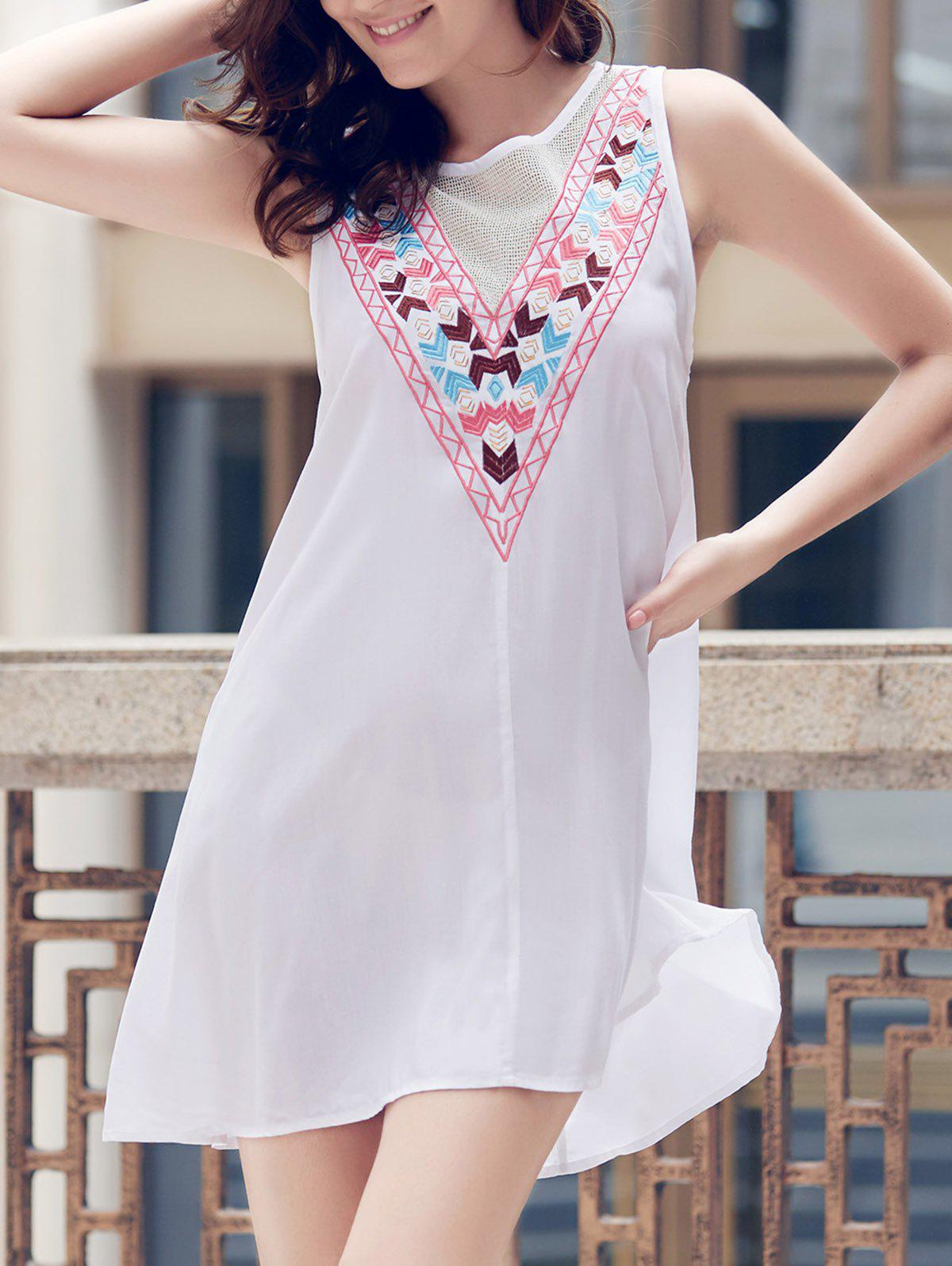 Fashionable Women's Jewel Neck Sleeveless Embroidered A-Line Dress - S WHITE