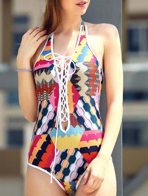 Sexy Lace-Up Colorful Print Hollow Out One-piece Swimwear For Women - COLORMIX S